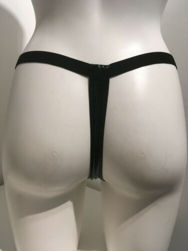 Black PVC Thong Size S M 12-14 studded front studs Elasticated waistband