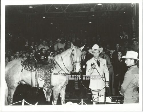 ROY ROGERS vintage TRIGGER photo RARE Western Cowboy w horse CANDID RODEO