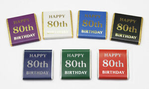 "Happy 80th Birthday"" Belgian chocolates"
