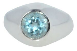 Sterling 925 Silver Blue Topaz Signet Mens Ring. Authentic Gemstone Gents Jewellery All Sizes N to Z+5 OOehkMmF