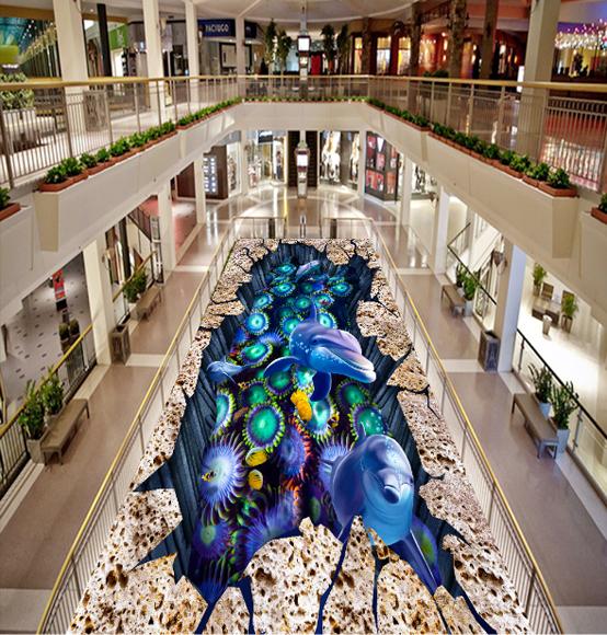 3D Dolphins Plants 57 Floor WallPaper Murals Wall Print 5D AJ WALLPAPER UK Lemon