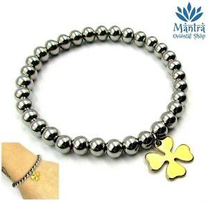 Bracciale-da-donna-elastico-a-sfere-in-acciaio-braccialetto-con-quadrifoglio-per