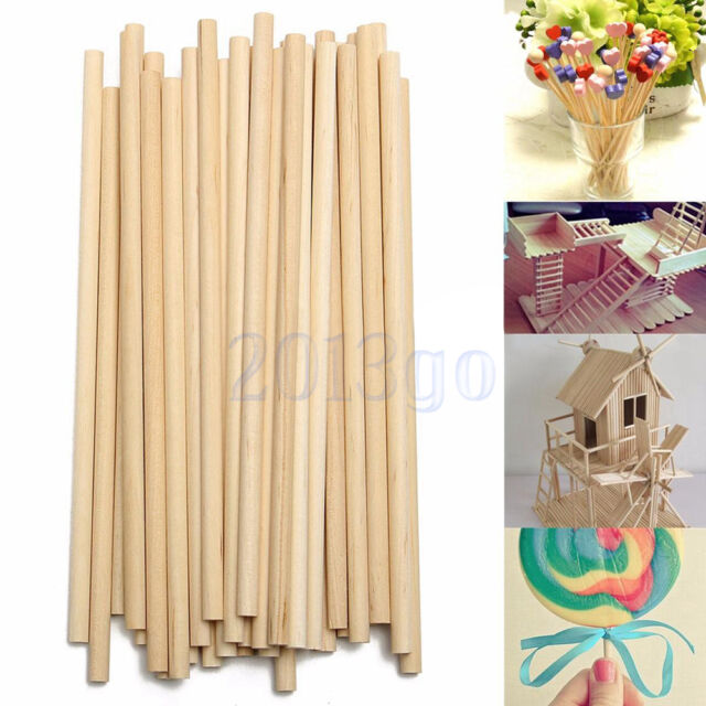 100pcs 150mm Round Wooden Lollipop Lolly Sticks Cake Dowel For Diy Food Craft Yg
