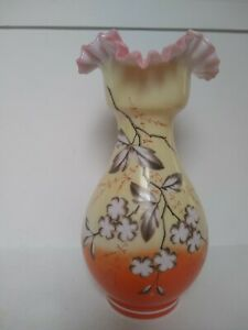 Antique-Bristol-Orange-Yellow-Floral-Vase-with-Pink-Ruffle-Edge-Mouth-10-1-2-034