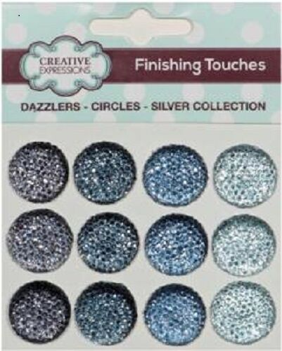 Creative Expressions Finishing Touches DAZZLERS 12 x 18mm SILVER CIRCLES Flat Bk