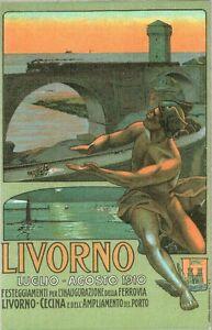 CARTOLINA-INAUGURAZIONE-DELLA-FERROVIA-LIVORNO-CECINA-1910-Riprod