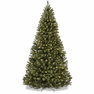 BCP-7-5ft-Pre-Lit-Spruce-Hinged-Artificial-Christmas-Tree-w-Stand-Green