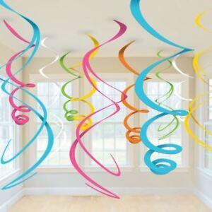 Rainbow-multi-couleur-Plastique-Tourbillons-Suspendus-Decorations-55-CM-Fete-D-039-Anniversaire