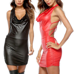 f05710dfa4e10 Sexy Women Patent Leather Wet Look Mini Dress Bodycon hot Shiny ...