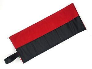 Rotolo-Eco-Pelle-e-Floccato-5-Posti-Nero-e-Rosso-Watch-Case-Box-Black-Red