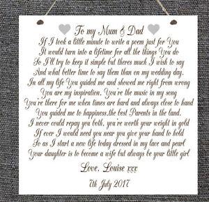Details Zu Personalisiert Hochzeit Gedicht Schild Mum Dad Braut Bräutigam Ehe Chic Geschenk