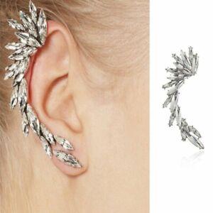 Details About Elegant Women Crystal Rhinestone Wing Gold Ear Stud Cuff Earrings Punk Jewelry