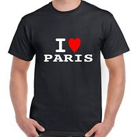 I heart love PARIS T shirt BNWT choice colours & sizes retro FUNNY fashion GLAM