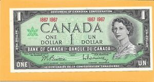1967 CANADIAN 1 DOLLAR BILL VERY NICE CRISP (UNC)