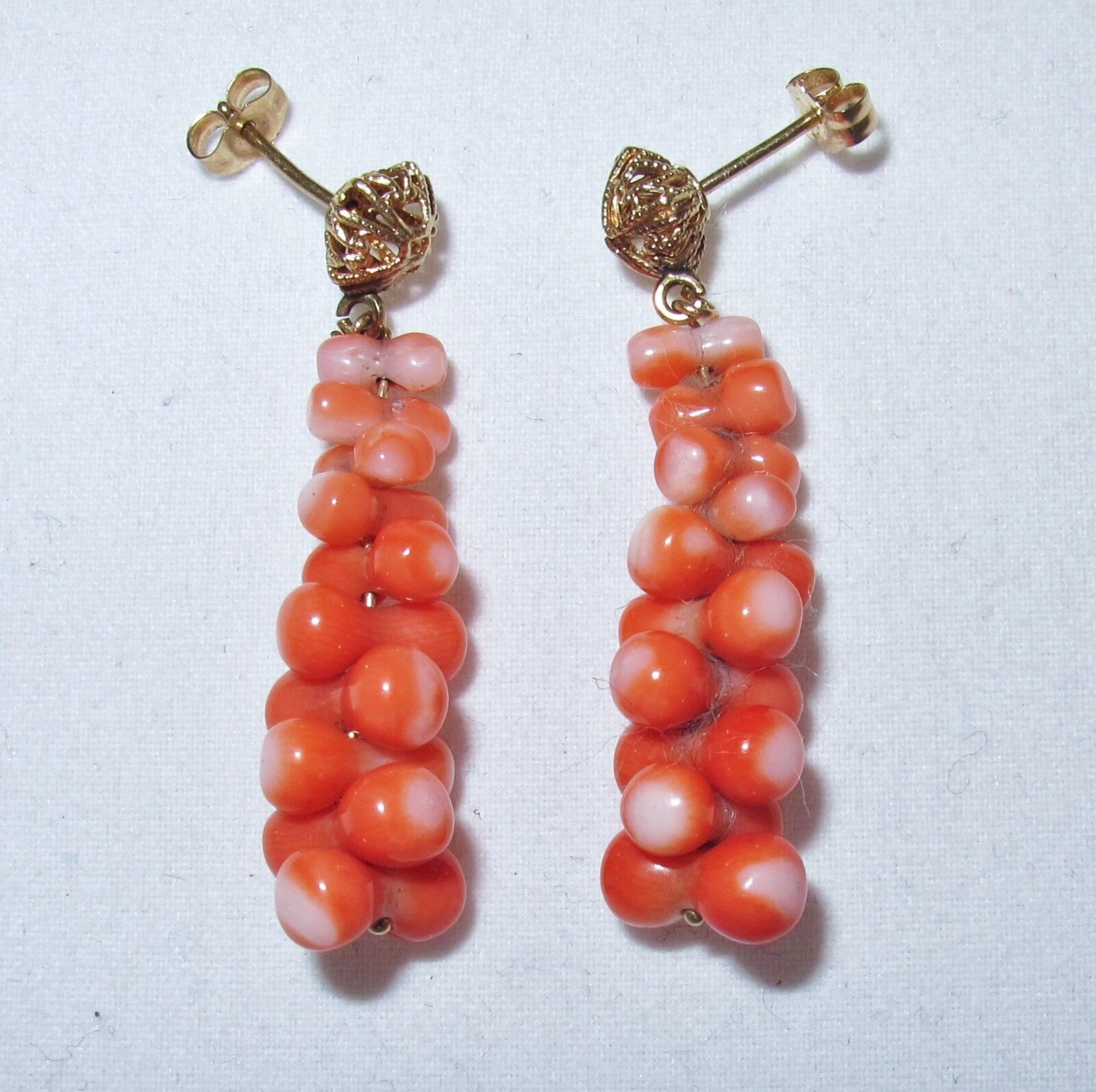14K Yellow gold Dangle Earrings with Dark Pink & White Coral  (4.7 grams, 1.5 )