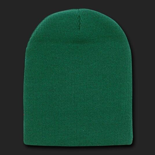 e47cbae2 Forest Green Beanie Hat Skull Snowboard Winter Warm Knit Hats Cuffless  Beanies
