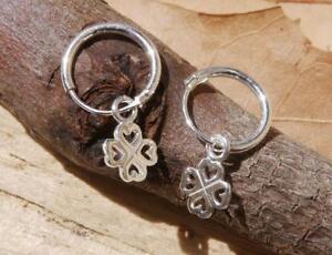 Четырехлистный клевер обруч серьги стерлинговое серебро тонкие новые ювелирные изделия, бесплатная доставка