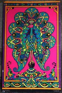 Peacock Original Vintage Blacklight Poster Third Eye 1969 ...