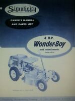 Simplicity Wonder-boy 4 Hp Riding Tractor & Engine Owner & Parts (2 Manuals) 46p