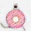 Pink Donut Photo Cabochon Verre Argent//Noir//Bronze Chaîne Collier Pendentif