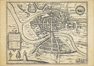 Bristol-in-1581-George-Braun-uncoloured-old-map-modern-reproduction