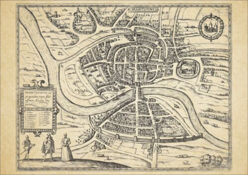 Bristol in 1581 George Braun uncoloured old map modern reproduction