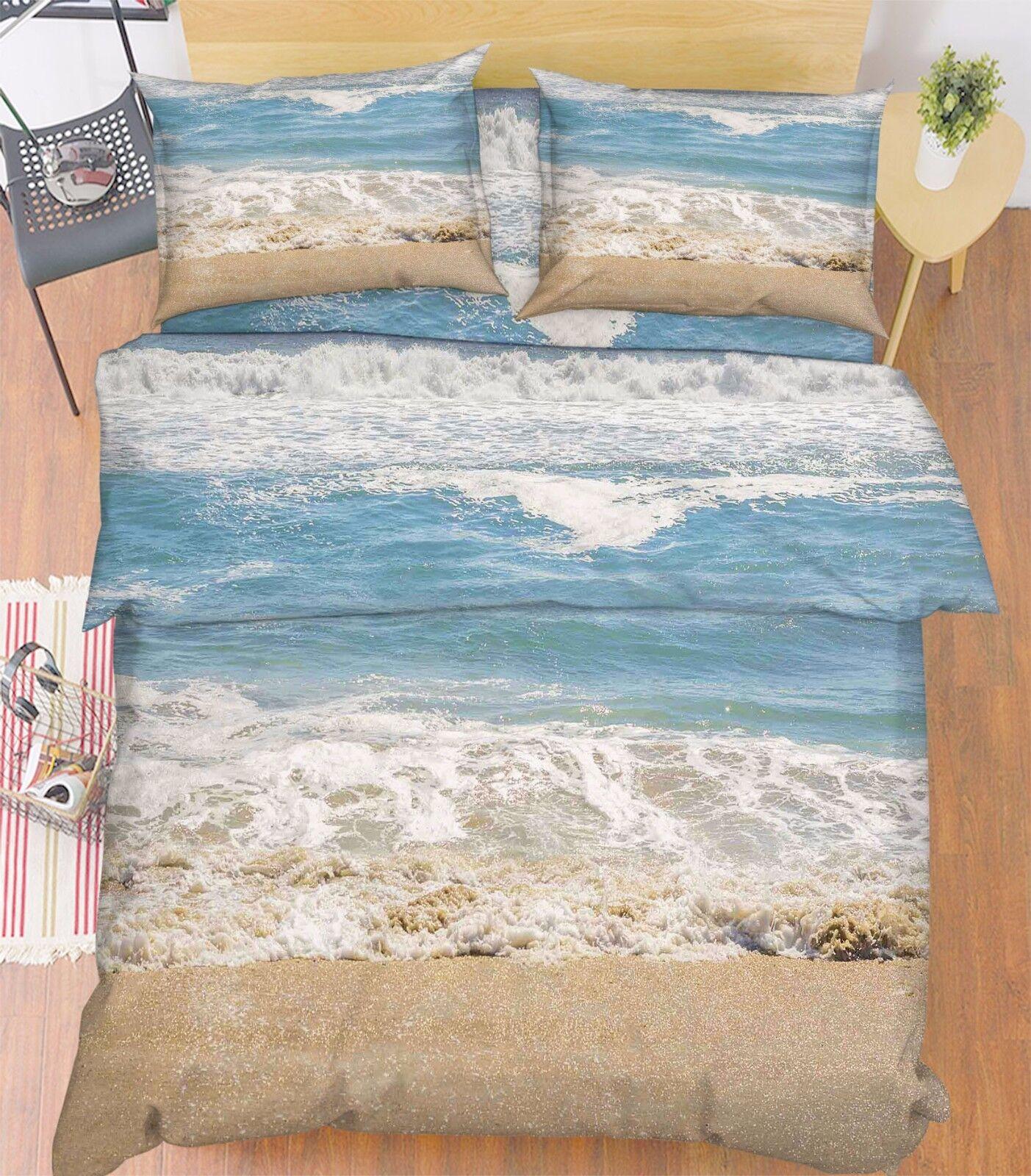 3D Beach Waves 876 Bed Pillowcases Quilt Duvet Cover Set Single Queen UK Kyra