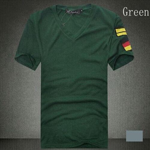 New Men/'s Armband V Neck Short Sleeve T-Shirt Slim Fit Casual Basic Tee Shirts