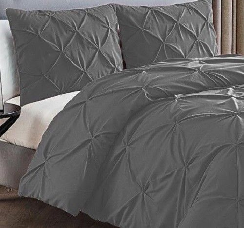 VCNY Home 3 Piece Duvet Set Queen - Charcoal - 100% Polyester New Free Shipping