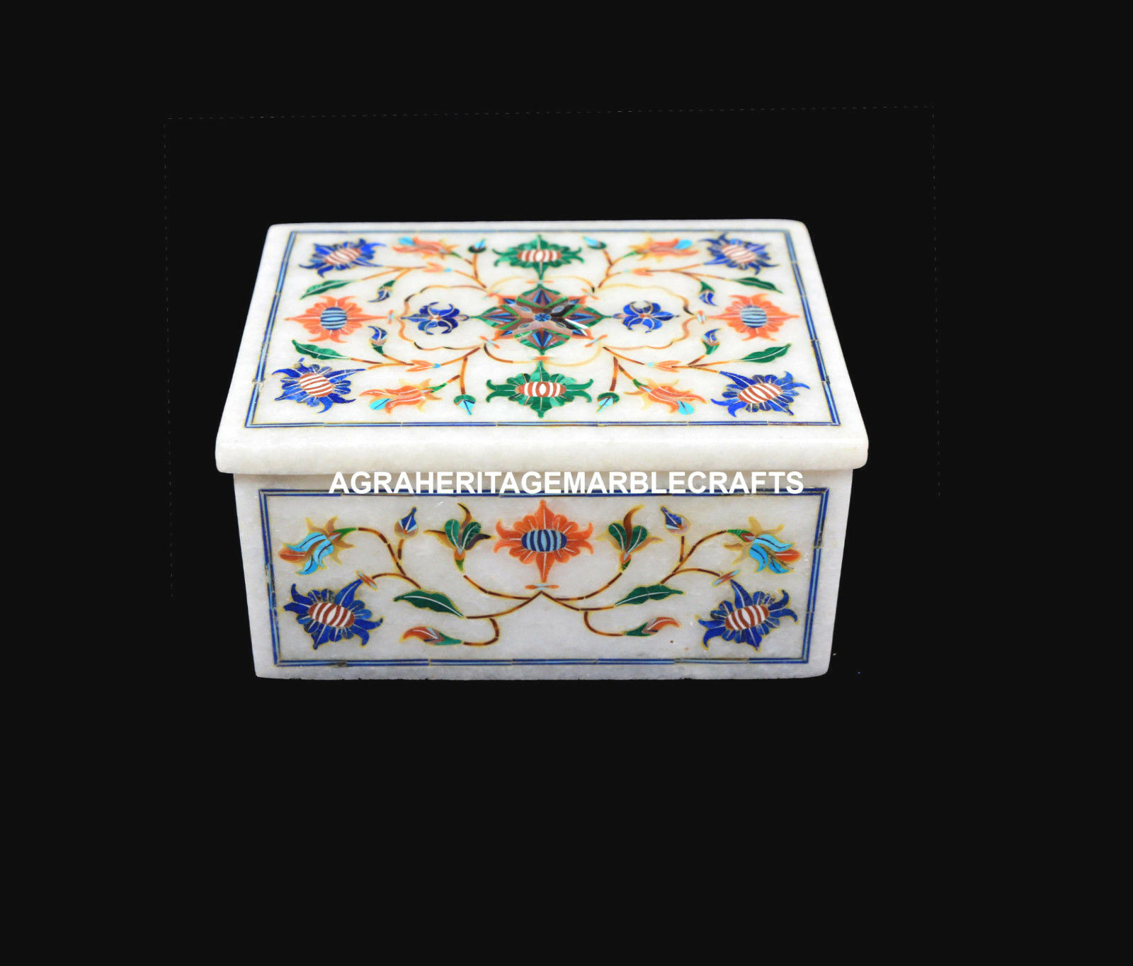 4 x3 x2  Marble Jewelry Gift Box For Women Multi Inlay Stone Mosaic Decor H5511