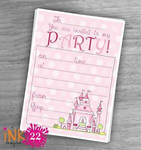 Image Is Loading Cute Kids Girls Pink Invitations Card Pack 039
