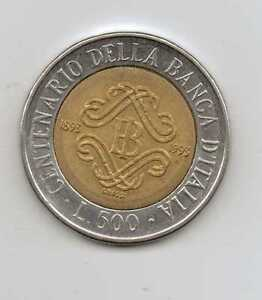 ITALY  500 LIRE 1993  BANK OF ITALY CENTENNIAL  Fine Condition - <span itemprop='availableAtOrFrom'>Bristol, Bristol, United Kingdom</span> - ITALY  500 LIRE 1993  BANK OF ITALY CENTENNIAL  Fine Condition - Bristol, Bristol, United Kingdom