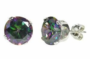 Sterling-Silver-Mystic-Topaz-Stud-Earrings-Cubic-Zirconia-Prong-Set-3mm-10mm