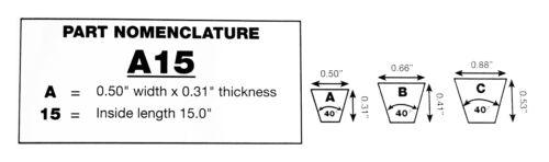 "A18-4L200 0.31"" Thick Jason  V-Belt Qty:1-20 Inch Length 0.5"" Width"