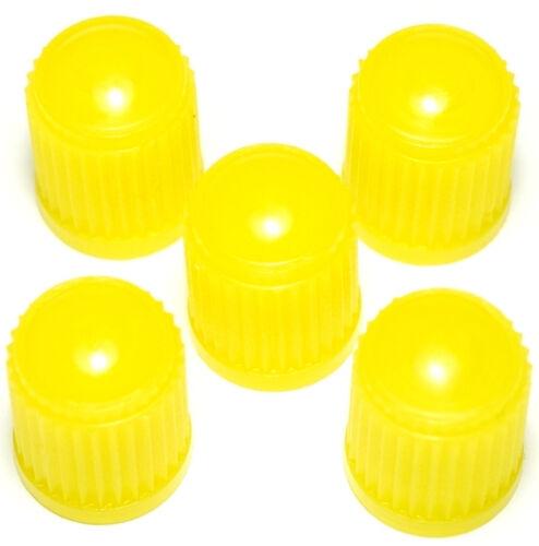 5 er Set Kunststoff Ventilkappen Auto Roller Fahrrad GELB Yellow WOW! PRESKIN