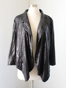 17fb1f0fc80 NWT Black Sequin Beaded Open Drape Front Blazer Jacket Evening 10 ...