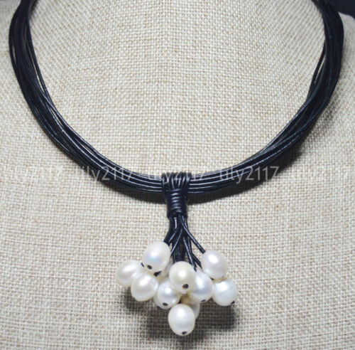 "Fashion Women/'s Natural 10x12mm Real Genuine Pearl cuir noir Colliers 18/"""