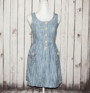 6ac2a18bd26 Steven Alan Women s 100% Linen Sleeveless Dress Chambray Striped ...