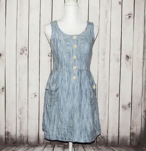Steven-Alan-Women-039-s-100-Linen-Sleeveless-Dress-Chambray-Striped-Size-Small