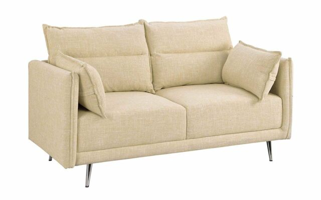 Enjoyable Upholstered Living Room Couch 57 Mid Century Linen Loveseat Sofa Pillows Beige Gmtry Best Dining Table And Chair Ideas Images Gmtryco