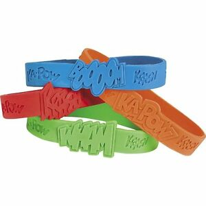 Pack-of-12-Superhero-Saying-Bracelets-Marvel-DC-Party-Bag-Fillers