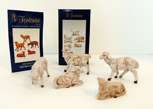Roman-Fontanini-5-034-White-Sheep-5-Nativity-Figure-Animals-In-Original-Box-ITALY