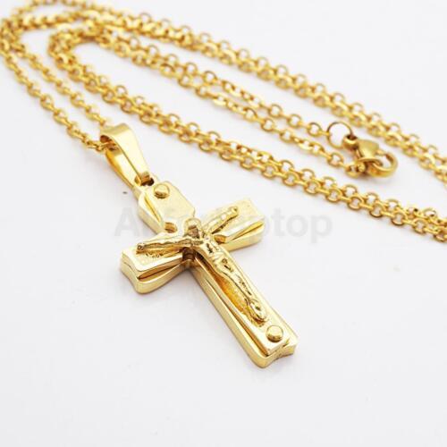 Edelstahl Kettenanhänger Kreuz Jesus Kruzifix für Halskette Gold Schmuck
