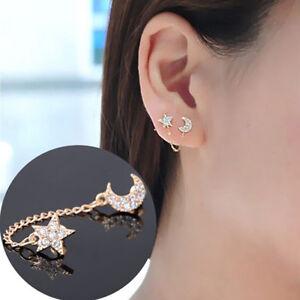 Fashion-Women-Gold-plated-Moon-amp-Star-Shape-Crystal-Rhinestone-Stud-Earrings-EA