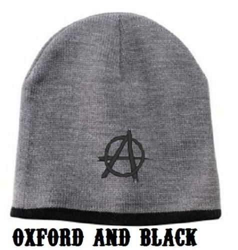 """Anarchy /""""A/"""" embroidered on a Beanie Cap"""