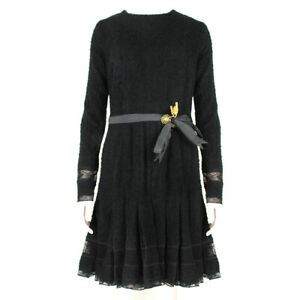 Meadham Kirchhoff Black Wool Boucle Dress UK10 IT42