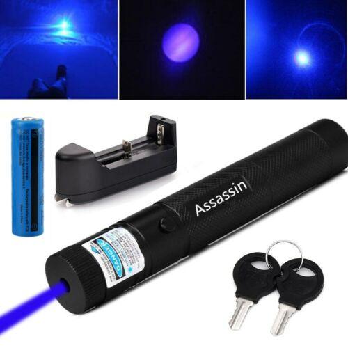 Pack of 2 Adjustable Focus 600Mile Range Blue Purple Laser Pointer Pen+Batt+Char