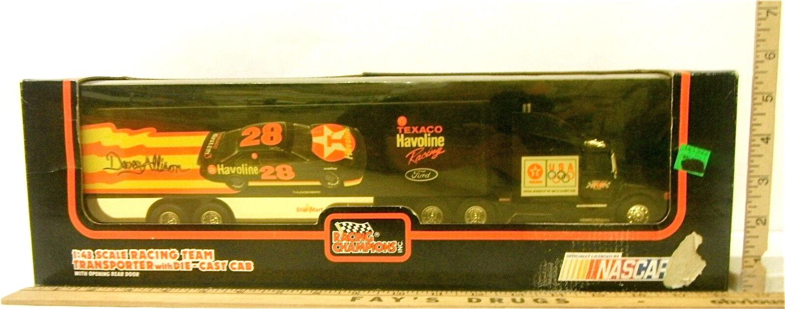 Vintage 1992 Racing Champions 1 43 Davey Allison Team Transporter Texaco