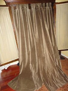 Image Is Loading WORLD MARKET SMOOTH VELVET TAUPE TAB TOP PAIR