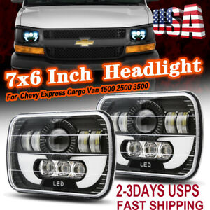 Pair 7x6 5X7 Black LED Headlights For Chevy Express Cargo Van 1500 2500 3500 4WD